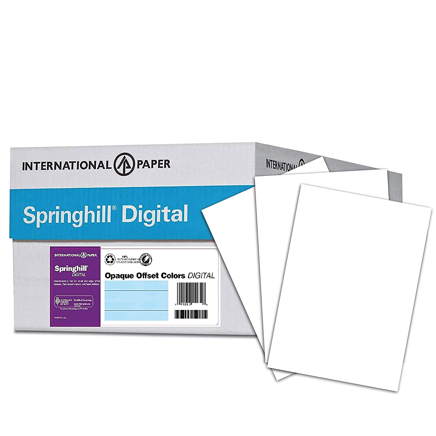 Springhill Cardstock Paper, White Paper, 90lb, 163gsm, 8.5 x 11, 92 Bright, 8 Reams / 2,000 Sheets - Index Card Stock, Thick Paper (015101C)