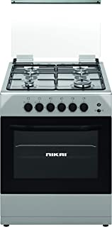 Nikai Gas Cooking Range 4-burner With Oven Size 60 X 60 cm Silver Color With Silver Top And Glass Lid Model- U6062FS, 1 Ye...