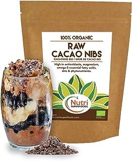 Nibs de cacao orgánico crudos - Ingrediente vegano de chocolate oscuro puro - Ideal para batidos energéticos y barritas de proteínas - 400g