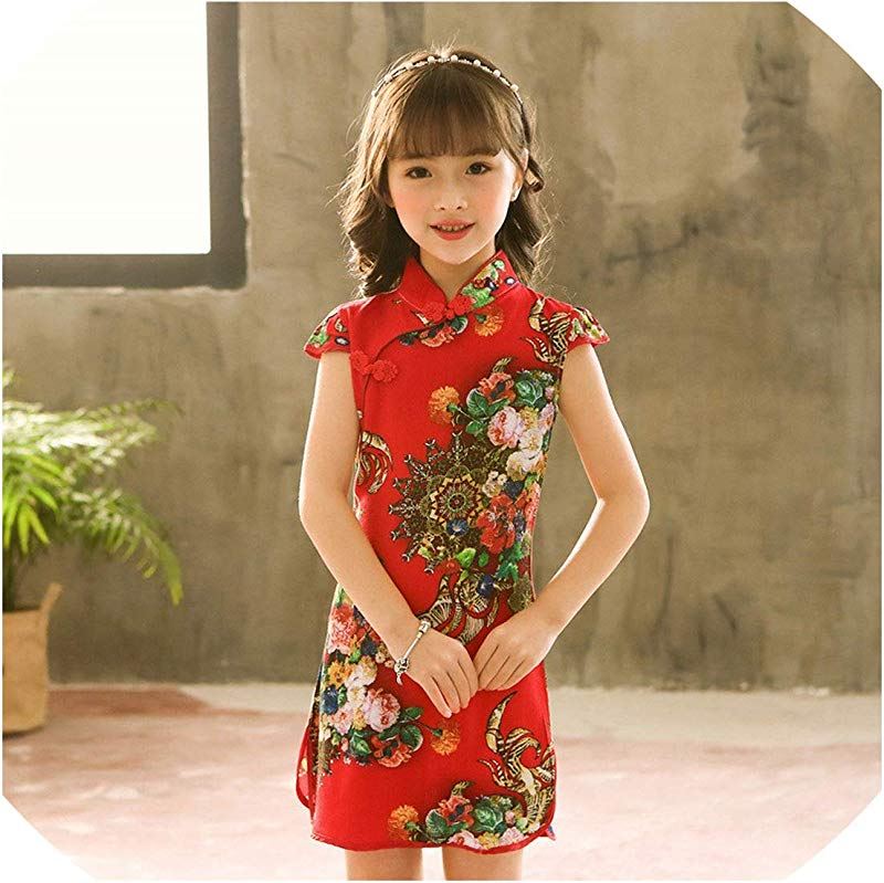 1 9Y Summer Vintage Baby Girls Dress Elegant Chinese Style Children Clothing Costume Kids Dresses For Girls Clothes Style One 12M