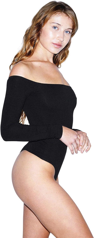 American Apparel womens Cotton Spandex Off-shoulder Long Sleeve Bodysuit