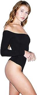 American Apparel Women's Cotton Spandex Off-Shoulder Long Sleeve Bodysuit