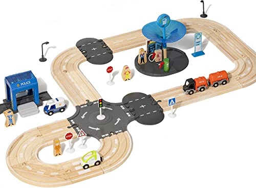 lowest ROBUD high quality Wooden Train Track Set Toy Train Magnetic Railway for Kids Toddlers 2 3 4 5 Year Old, Compatible outlet sale Thomas Brio Chuggington Melissa sale