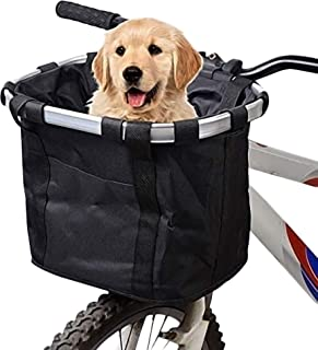 URBEST Bike Basket, Small Pets Cat Dog Folding Carrier, Removable Bicycle Handlebar Front Basket, Quick Release and Easy to Install, Detachable Cycling Bag