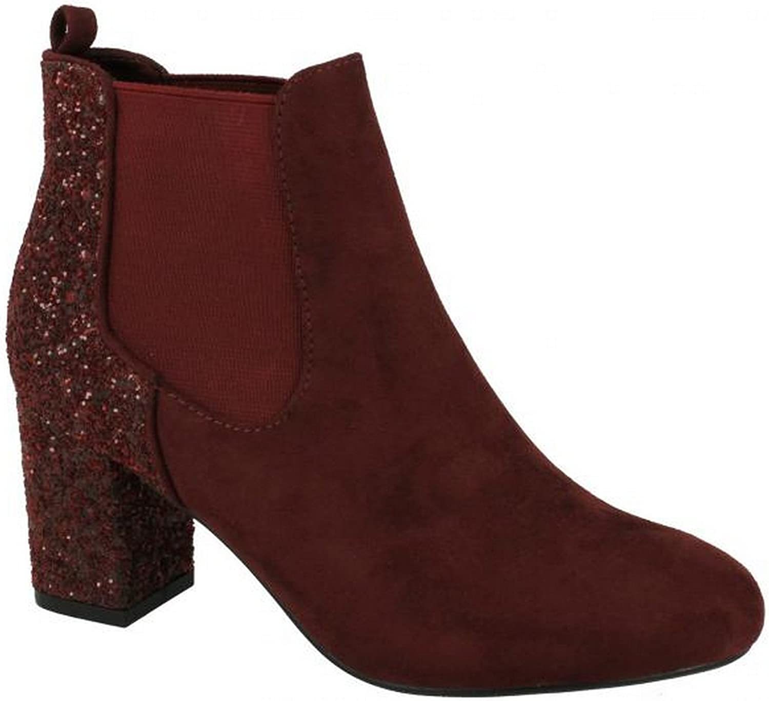 Anne Michelle Womens Ladies Glitter Effect Ankle Boots