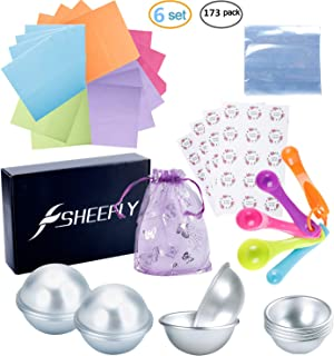 SHEEFLY 173 Pieces Bath Bomb Mold Set with 12 pcs 3 Size DIY Metal Molds, 5 Spoons, 50 Wrapping Papers, 50 Shrink Wrap Bags, 50 Stickers,5 Gift Bags for Bath Bomb Making, Handmade Soaps and Crafts …