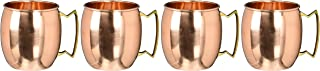 Barrel Copper Moscow Mule Mug Handmade of 100% Pure Copper, Brass Handle Plain Moscow Mule Mug / Cup 16 Ounce,set Of-4,