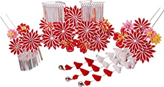 七五三髪飾り かんざし 赤レッド つまみ細工[ 子供 着物 和装 花簪 正月 7歳 753]