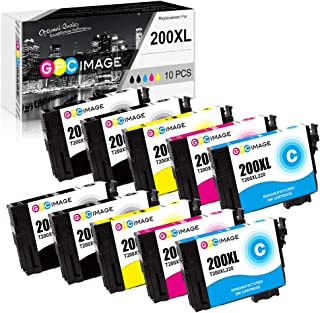 GPC Image Remanufactured Ink Cartridge Replacement for Epson 200 T200XL Ink to use with WF-2540 WF-2530 WF-2520 Expression Home XP-410 XP-400 XP-200 (4 Black, 2 Cyan, 2 Magenta, 2 Yellow, 10-Pack)