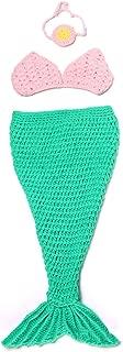 Newborn Baby Costume Mermaid Tail Headband Bra Knitting Photography Props