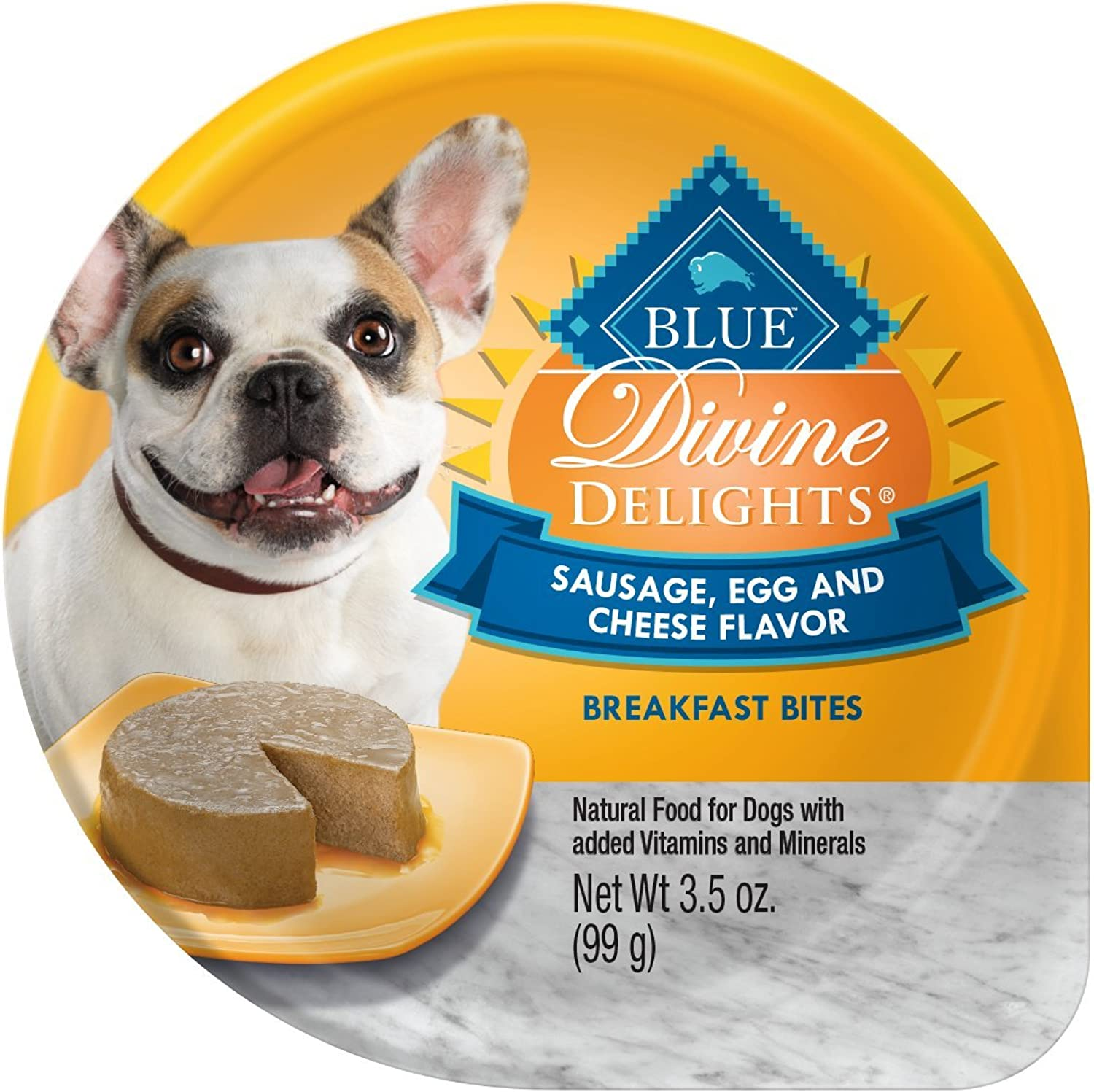 bluee Buffalo Divine Delights Natural Adult Small Breed Wet Dog Food Cup, Sausage, Egg & Cheese Breakfast Bites 3.5oz (Pack of 12)