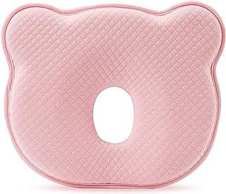 SONARIN Almohada para Bebe plagiocefalia,prevenir-curar la Cabeza Plana in Memory Foam Prevención de cabeza plana Almohada suave para niños pequeños, para bebés de 0 a 12 meses(Rosa)