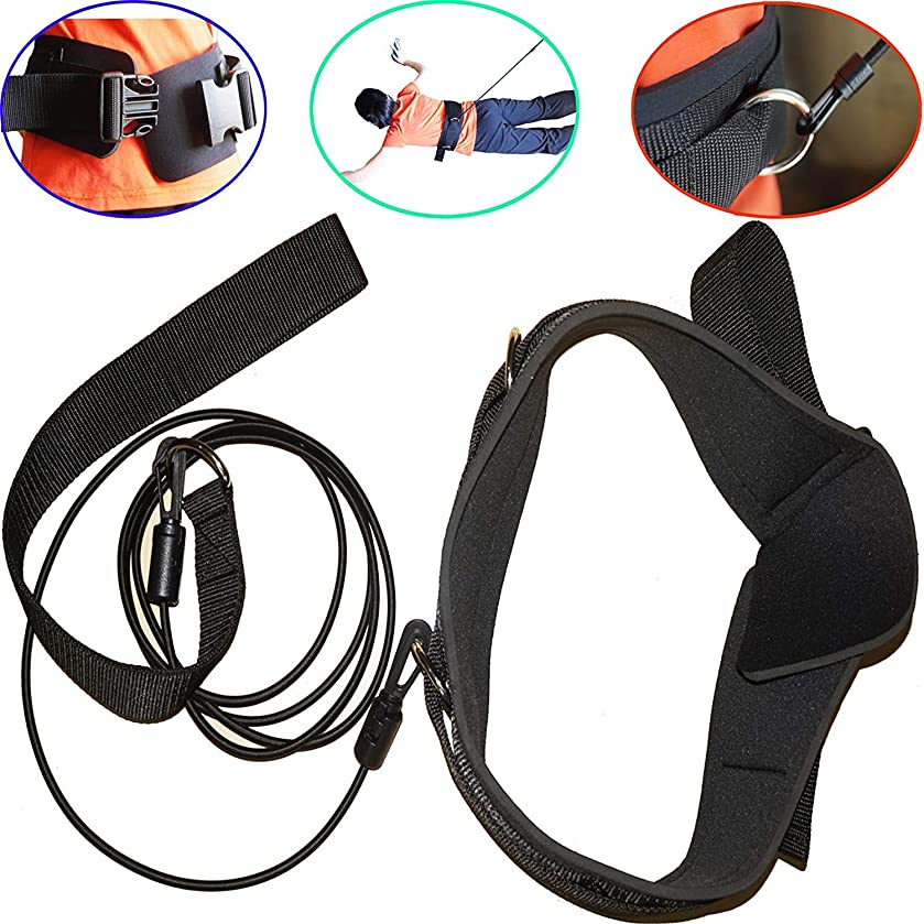 Pmsanzay Premium Stationary Swim Bungee Training Belt/Swim Sports Resistance Leash/Swim Exerciser Belt/Swim Trainer Tether/Hydrotherapy Pool Water Therapy Lane Training Stroke Training Harness
