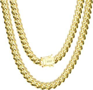 """Mens 10K Yellow Gold Solid 7mm Miami Cuban Chain Necklace, 20""""- 30"""""""