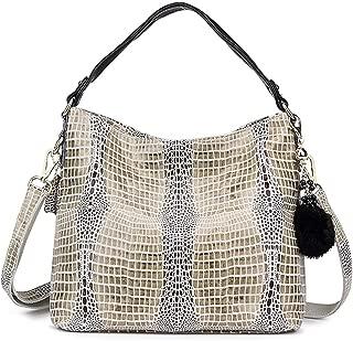 ladies handbag genuine leather tote bag female messenger bag women's big shoulder bag hobo with serpentine prints Black