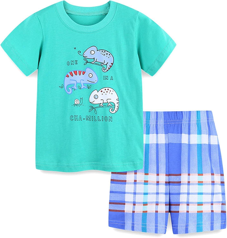 Toddler Kids Baby Boy Cotton Summer Casual Crewneck Cartoon Short Sleeve T-Shirt Shorts Outfits Set Cloths 2-7 Years