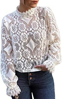 GUYUEQIQIN Women's Long Sleeve Lace Tops Casual Hollow Out Stand Collar Shirt Tees