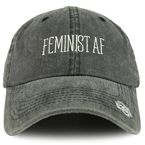 a649f5d86 Trendy Apparel Shop Feminist AF Text Embroidered Washed Cotton Unstructured Baseball  Cap