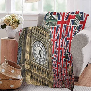 Union Jack Children's Blanket UK Flags Background with Big Ben Festive Celebrations Loyalty Lightweight Soft Warm and Comfortable W60 x L70 Inch Pale Coffee Navy Blue Red