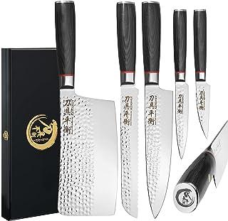 Couteaux de cuisine Set de 5 couteaux professionnels Cadeau de cuisinier dans une boîte en bois de haute qualité, Edition ...