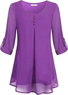 Cestyle Women's Roll-up Long Sleeve Round Neck Layered Chiffon Flowy Blouse Top