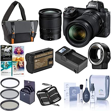 $2396 Get Nikon Z6 FX-Format Mirrorless Camera with NIKKOR Z 24-70mm f/4 S Lens - Nikon Mount Adapter FTZ - Bundle with Camera Case+72mm Filter Kit+Spare Battery+Charger+Cleaning Kit+Memory Wallet+PC Software