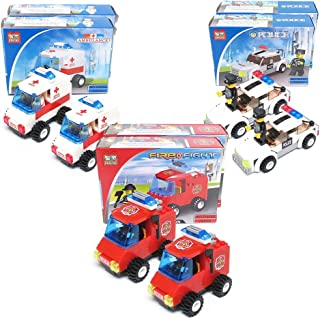 Blue Orchards Fire and Rescue Vehicle Brick Sets (6 Pack), Fireman Party Supplies, Police Party Favors, Over 460 Total Pieces!