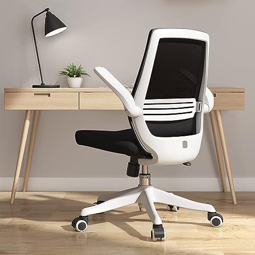 SIHOO Mesh-Bürostuhl, Schreibtischstuhl, atmungsaktiver Kompaktstuhl, Taillenstütze, anhebbare und umkehrbare Armlehne, leise Nylonrollen(Schwarz)