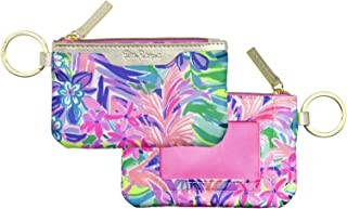 Lilly Pulitzer ID Case Keychain Wallet with Zip Close, Cute Durable Card Holder for Women Teen Girls, It Was All A Dream