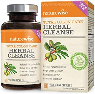 NatureWise Herbal Detox Cleanse Laxative Supplements | Natural Colon Cleanser Herb & Fiber Blend for Constipation Relief, ...
