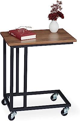 Relaxdays Table d'appoint à roulettes avec Plateau carré Aspect Bois en Acier Marron/Noir 60 x 50 x 35 cm