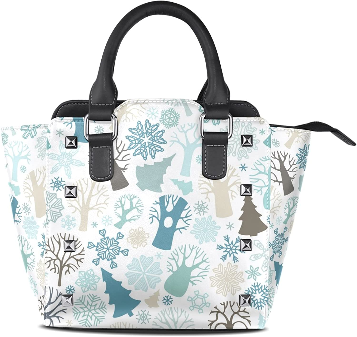 My Little Nest Women's Top Handle Satchel Handbag Winter Forest Trees Firs Snowflakes Ladies PU Leather Shoulder Bag Crossbody Bag