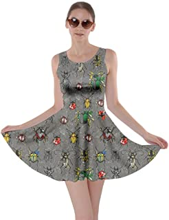 Womens Watercolor Beetles Insect Bee Butterfly Butterflies Bugs Dragonfly Skater Dress, XS-5XL