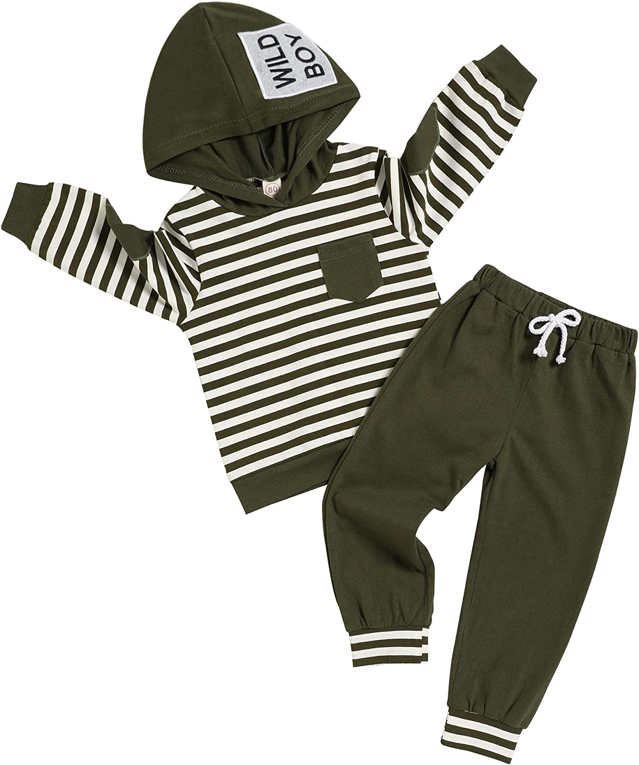 Baby Boy Cool Clothes Long Sleeve Strips Hoodie Sweatsuit Top and Pants 2Pcs Winter Outfits Set