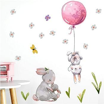 Little Deco DL230 Sticker Mural d/écoratif pour Chambre de b/éb/é Motif Lapins de Lapin Rose 59 x 55 cm