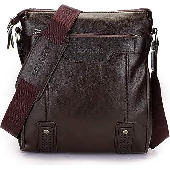 10.5 iPad Bag Hidesign Aiden Genuine Leather and Canvas Mini Crossbody Men//Women Messenger Bag Travel Bag Black