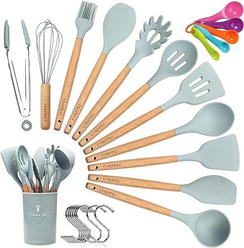 CORAFEI 11 PCS Set d'Ustensiles de Cuisine en Silicone et Bois - Spatule Louche Cuillère Pince antiadhésif avec Pot d...