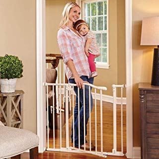 """North States 38.25"""" Wide Arched Auto-Close Baby Gate with Easy-Step: Extra-low threshold bar reduces trip hazards. Pressure or hardware mount. Fits 28.5""""-38.25"""" wide (30"""" tall, Soft White)"""