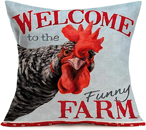 Smilyard Welcome Farm Farmhouse Pillow Covers Animal Rooster Head Pattern Cotton Linen Decorative Throw Pillow Case Cock Home Decor Rustic Cushion Cover For Sofa Couch 18x18 Inch Cock Head