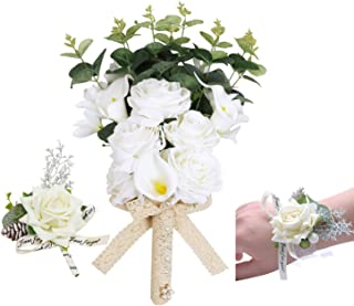 U'Artlines Bridal Wedding Bouquet with Boutonniere and Corsage Set,Bridesmaid Holding Flowers Romantic Handmade Artificial Roses Calla Lily Eucalyptus Pearl for Wedding Party Home Decoration