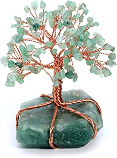 Top Plaza Chakra Healing Crystals Copper Money Tree Wrapped On Natural Green Aventurine Base Feng Shui Luck Figurine