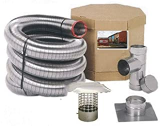 Forever Vent SW425SSK SmoothWall Double Ply Stainless Steel Chimney Liner Kit, 4-Inch x 25-Feet