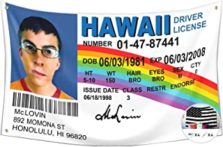 McLovin ID Flag Fake Driver License Flag,3x5 Feet Banner,Funny Poster UV Resistance Fading & Durable Man Cave Wall Flag wi...