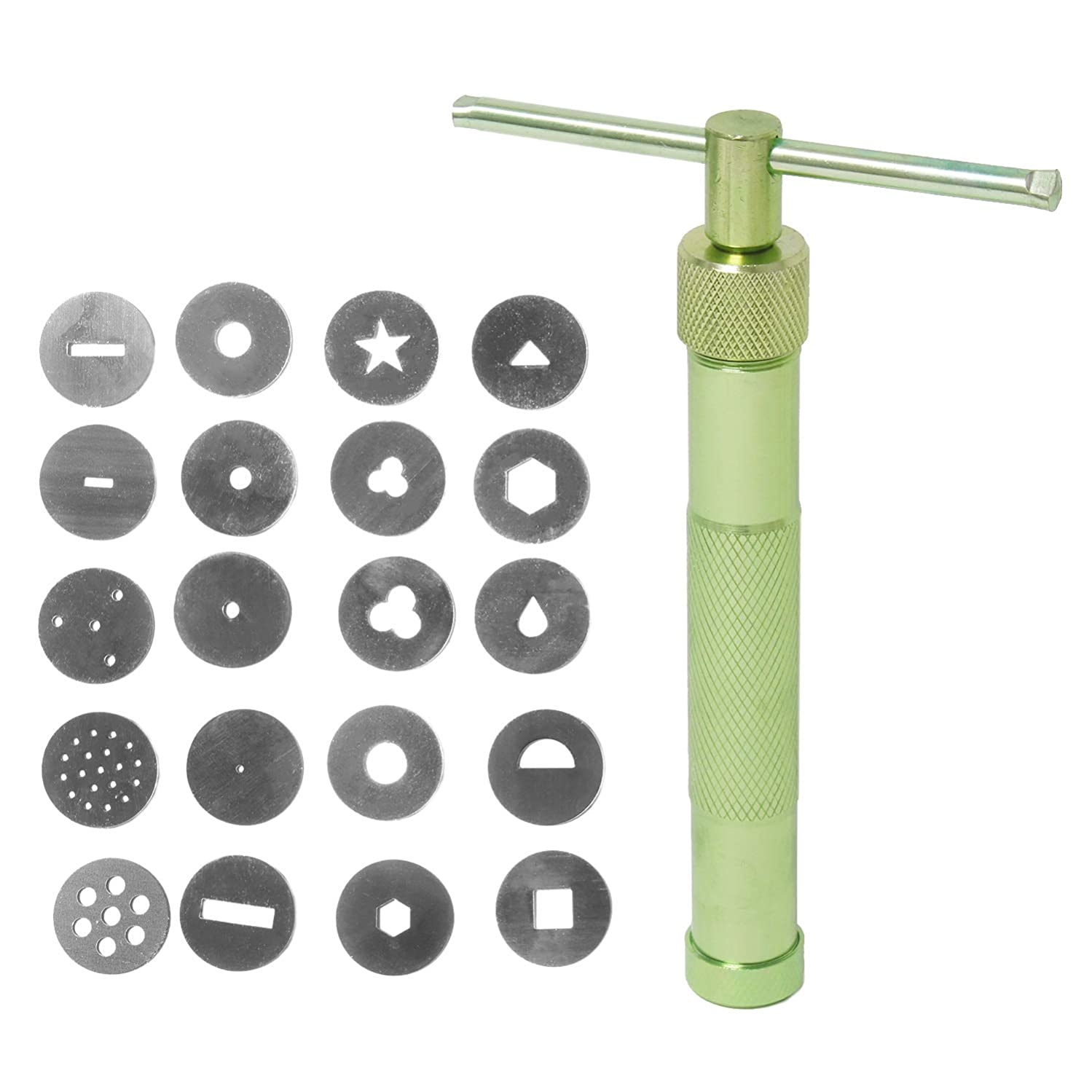 Handheld Clay and Fondant Extruder Gun - Polymer, Sugar Paste Extruder with 20 Discs, Professional Tool for Cake and Cupcake Decorating, Ceramic, Pottery, Sculpture, Craft, 4 x 6 Inches