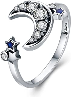 XOYOYZU 925 Sterling Silver Boat Anchor Blue Cubic Zircon CZ Ring Expandable Open Rings Adjustable Women Jewelry