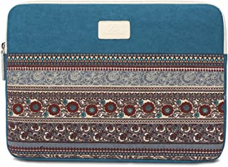 BLOOMSTAR 13 Inch Bohemian Canvas Protective Laptop Sleeve Bag Notebook Case Cover for MacBook, Chromebook, Acer, Dell, HP, Samsung, Sony (Horizontal, Blue)