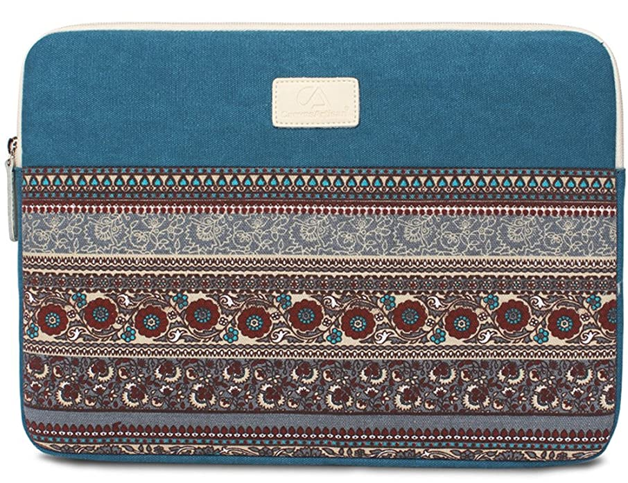 BLOOMSTAR 15 Inch Bohemian Canvas Protective Laptop Sleeve Bag Notebook Case Cover for MacBook, Chromebook, Acer, Dell, HP, Samsung, Sony (Horizontal, Blue)