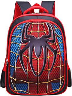 Backpack for Kids, 3D Cute Spider Waterproof Comic School Bag for Students Girls Boys Children (Red)