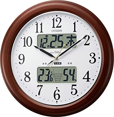 CITIZEN (シチズン) 電波 掛け時計 インフォームナビEX 温湿度計付き ・ 夜間自動点灯 木枠茶色 4FY620-006