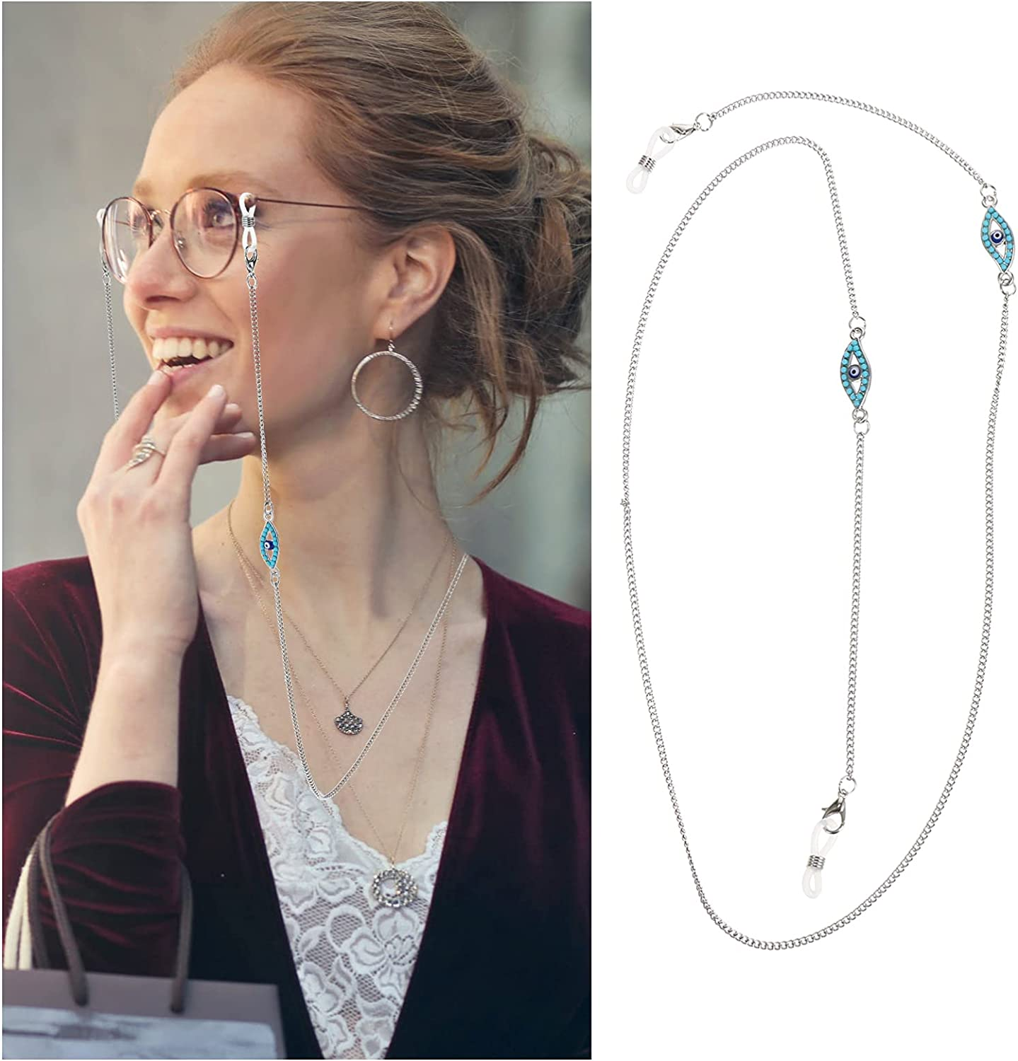 DOITOOL Eyeglass Chain Sunglasses String Holder Anti Lost Beaded Glass Chains Retainer Strap 73cm Glasses Lanyard Chain Cord Strap Keeper
